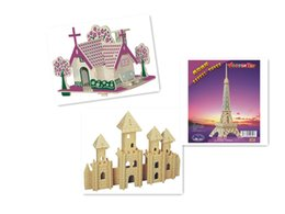 Free shipping--Iron Tower Wooden Jigsaw 3D Simulation Model DIY Stereo Jigsaw Puzzle Children Unisex Hand Puzzle ToyS