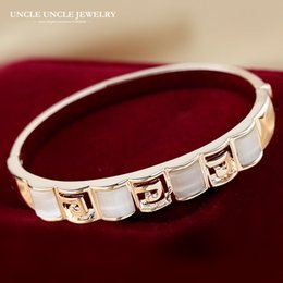 Rose Gold Color Brand Design High Quality Square Opal Studded Retro Rome Style Pave G Women Bangle Wholesale Christmas Gifts