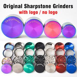 DHL free 40mm 50mm 55mm 63mm 4 parts SharpStone Tobacco Grinder herb grinder cnc teeth filter net dry herb vaporizer pen 7 colors