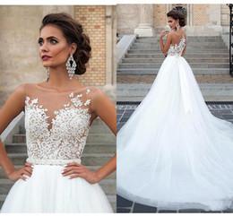 2019 Modern A-line Wedding Dresses Lace Applique Sheer Neck Garden Bridal Gown Summer Fashion Vestios De Novia Bridal Dresses BC2542