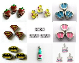 Multiple Choice 20PCS lot strawberry bear paw 2020 batman Floating Locket Charms Fit For Memory Magnetic Locket Pendant Fashion Jewelrys