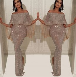 Sparkly Sequins Mermaid Long Evening Dress 2019 Arabic Bateau Neck Off The Shoulder Slit Pageant Formal Party Prom Gowns BC1019