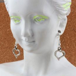 Cute Heart Charm Earrings silver Fish Ear Hook 30pairs Antique silver Chandelier DIY Jewelry 15x36mm A-538e