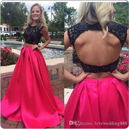 Two Pieces Evening Dresses Fuchsia Satin A Line Long Prom Dresses Capped Sleeves Lace Beaded Top Party Formal Gowns