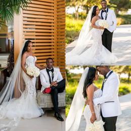 2020 Vintage Plus Size Mermaid Wedding Dresses Sweetheart Lace Applique Wedding Gowns vestido de novia Sweep Train Bridal Dress Custom Made