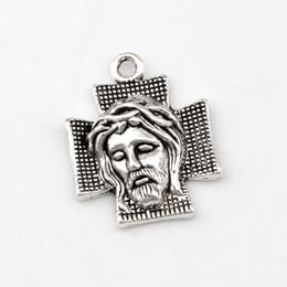 Cross Jesus Christ Charm Pendants 100Pcs lot Antique silver Fashion Religion Jewelry DIY Fit Bracelets Necklace 22x28mm A-491