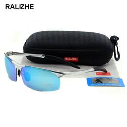 Mens Aluminum Magnesium Aviation Alloy Polarized Sunglasses Silver For Male Frameless Light Blue 68mm TAC Lenses Sun Glasses Driver Fishing