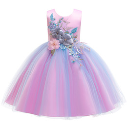 Retail kids designer dress girls pearl flower Embroidered bow princess dress high luxury designer pleated party wedding dresses boutique