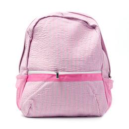 Wholesale Blanks Newly Designer seersucker Cotton Fabric Zipper Closure Kids School Soft girl baby Backpack in Five Colors boy DOM031