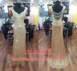 Sparkly Gold Sequined Mermaid Prom Dresses Long 2019 Sexy Backless Crystal Formal Party Gowns Pageant Special Occasion Dressess Evening Wear