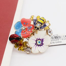 European and American jewelry inlaid diamond glaze decorations flowers petals opening ring wholesale female ladybug