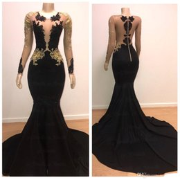 2019 New Arrival Black with Gold Appliques Long Sleeves Prom Dresses Vintage Mermaid Sheer Neck Sweep Train Party Evening Gowns Formal