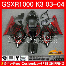 Frame For SUZUKI GSX-R1000 GSXR 1000 GSXR1000 03 04 Body 15HC.94 Bodywork red flames new GSX R1000 K3 GSXR-1000 03 04 2003 2004 Fairings kit