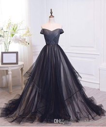 Gorgeous 2019 Off Shoulder Prom Dresses A Line Ruffles Tulle Pleats Long Dresses Party Evening Formal Gown