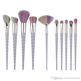 Mybasy Professional Spiral 10pcs Makeup Brushes Easy to stick powder Eyebrow Eyeliner Blusher Blush makeup tool Beauty Brush