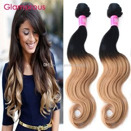 Glamorous Ombre Brazilian Hair Body Wave Straight Ombre Hair Weave 100g 4 Bundles Peruvian Malaysian Indian Ombre Human Hair Weft Extensions