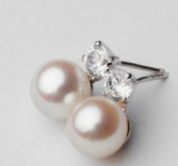 A Pair 10-11mm South Sea Round White Pearl Earrings S925 Silver Accessories