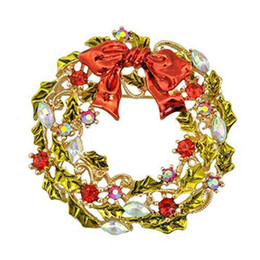 2 Inch Gold Plated Multicolored Enamel Leaf Flower Wreath Brooch with Red Bow Christmas Gift for friends
