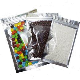 12X20CM,100 X Translucent Aluminium foil Zip Lock Bags - Silver Metallic aluminum Mylar and Resealable plastic pouch clear Front zipper seal