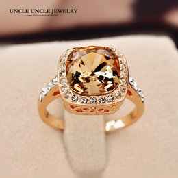 Rose Gold Color Royal Design Square Champagne Crystal Lady Finger Ring Wholesale Gifts