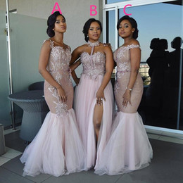 Mixed Style Long Bridesmaid Dresses 2020 Floor Length Lace Appliques Sash Robe De Soiree African Nigerian Prom Wedding Guest Dress