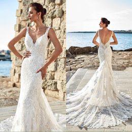 Sexy Mermaid Summer Beach Wedding Dresses 2019 V Neck Full Lace Chapel Train Wedding Bridal Gowns Custom Made Vestidos De Noiva BC0531