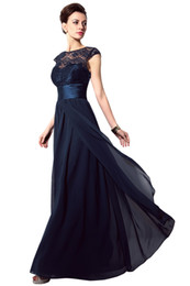 2020 Cheap Evening Dresses Navy Blue Lace Sheer Neck Sash A-Line Cap Sleeve Vintage Bridesmaid Dress Long Party Prom Dress Gowns