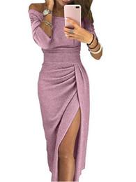 Sexy Off Shoulder Party Dress Women High Slit Peplum Bodycon Dress Autumn Three Quarter Sleeve Bright Silk Shiny Dress DK599BK