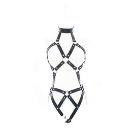 Adjustable Women Sexy Wear Leather Strap breast out Harness Bondage Sex Bra Adult Product SM002