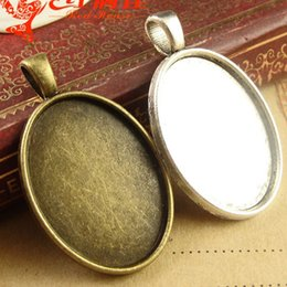 A1433 36*21MM Fit 25*18MM Antique Bronze oval cameo setting, tibetan silver metal stamping blank base, jewelry making tray pendant bezel