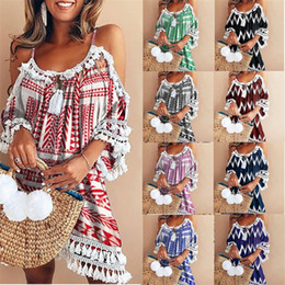 Summer Sexy Spaghetti Strap Short Beach Dress Chiffon Bohemian Beach Mini Loose Casual T Shirt Dress Plus Size Women Clothing BZ8092