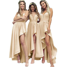 Modest 2019 Pink Asymmetrical Length Bridesmaids Dresses For Western Weddings A Line Spaghetti Straps Ruffles Wedding Party Gowns BM0173