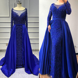 Vintgae Lace Appliqued Mermiad Evening Dresses With Detachable Train Long Sleeves Beaded Prom Dresses Long Formal Party Pageant Gown