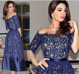 Navy Blue Half Sleeve Lace Mother of The Bride Groom Dresses Off Shoulder Short Wedding Party Gowns Evening Dress vestidos de fiesta