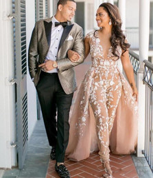 Beach Boho Jumpsuits Champagne Wedding Dresses Sheer Deep V Neck African Detachable Train Appliques Lace bohemian Bridal Gowns
