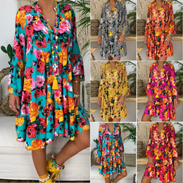 Summer Bohemian Flora Printed Casual Party Dresses A Line Loose Mini Blouse Shirts Women Clothing Cheap Free Shipping FS8238