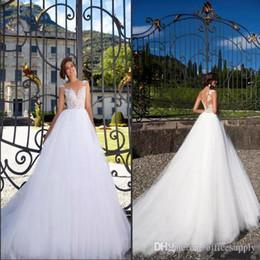 Sexy Vestido De Novia 2019 Sheer Jewel Neck A Line Wedding Dresses Ruffles Tulle with Appliques Illusion Back Bridal Gowns