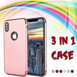 3 in 1 Plating Electroplating Hard Plastic PC Cover Frosted Armor Matte Case Shockproof For iPhone XS Max XR X 8 7 6S Plus 5