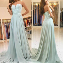 Unique Sweetheart Mint Green Long Bridesmaid Dresses 2019 Cheap A Line Chiffon Applique Lace Backless Maid Of honor Party Gowns BM0736