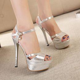 Summer Rome Style Fashion 14cm Women Sandals Platform High Heels Sandals Luxurious Gold Silver Lady's Shoes