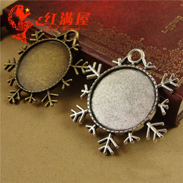 A3802 38*42MM Fit 25MM Antique Bronze round snowflake charm base, blank pendant bezel setting, cameo cabochon tray for jewelry making