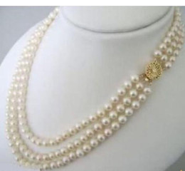 Triple Strand 8-9mm Natural South Seas White Pearl Necklace 18-22 Inch 14k Gold Clasp