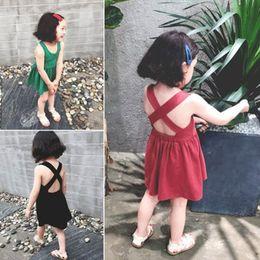 Retail kids designer girls dresses Sleeveless suspender Vest Dress Cute Summer Kids Backless Bandage Cotton Casual Princess Dress clothes