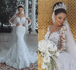 Vintage Arabic Full lace Wedding Dresses Illusion Top Long Sleeves Appliques Sequined Mermaid Bridal Sweep Train Wedding Gowns Custom Made