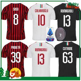 19 20 Milan Piatek PAQUETA KALINIC soccer jersey 2019 2020 BACCA BONUCCI home ROMAGNOLI BERTOLACCI CALHANOGLU football shirts soccer jersey