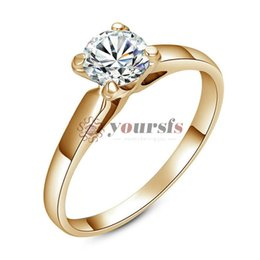 Yoursfs Solitaire Ring Simulated Diamond Ladies Ring 18K White GP Austrian Crystal Bridal Wedding Ring