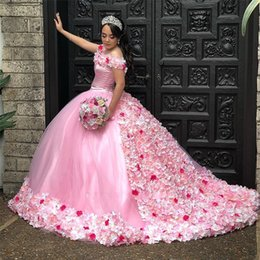 Gorgeous 3D Floral Appliques Sweet 15 Ball Gown Dresses Off-the-shoulder Neck Brush Train Pink Quinceanera Dresses Custom Made