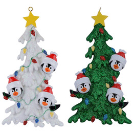 Resin Penguin Family Of 3 Christmas Ornaments With White Tree As Personalized Gifts Holiday Home Decor Miniature Craft Supplies