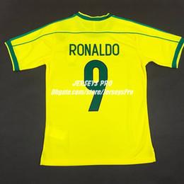 Brasil RONALDO Retro Soccer jersey brazil 1998 world cup home shirt yellow camiseta camisa de futebol maillot Cafu Robert Carlos Rivaldo