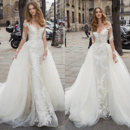 Berta 2020 Elegant Lace Mermaid Wedding Dresses With Detachable Train Appliques Bridal Gowns Sheer Neck Long Sleeve Castle Brides Dress